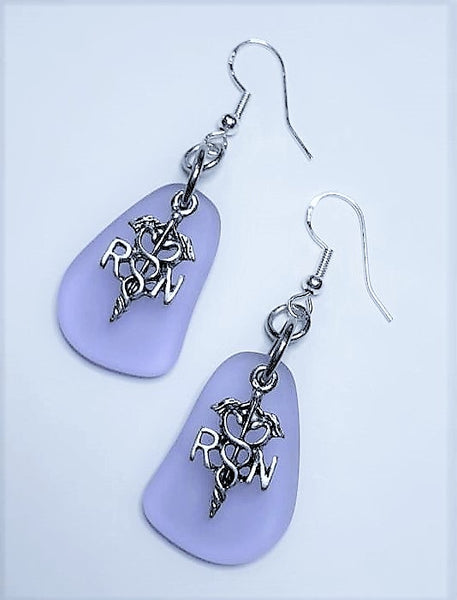 Lilac Sea Glass RN Earrings
