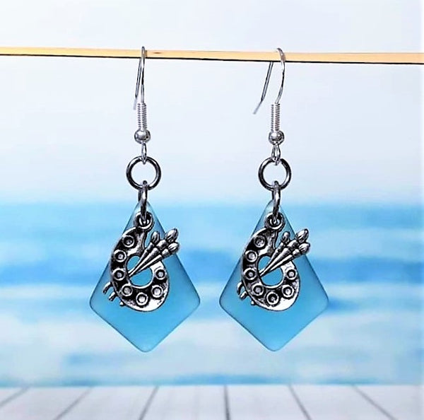 Sea Glass Artist Palette Earrings | Sterling Silver | Christmas | Earrings | Sea Glass Earrings | Sea Glass Jewelry | Dangle Earrings