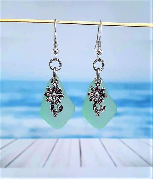 Sea Glass Flower Earrings | Sterling Silver | Christmas | Earrings | Sea Glass Earrings | Sea Glass | Dangle Earrings | Charm Earrings