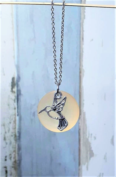 Sea Glass Hummingbird Necklace | Hummingbird Jewelry | Stainless Steel | Sterling Silver | Gift for Mom | Christmas  | Sea Glass