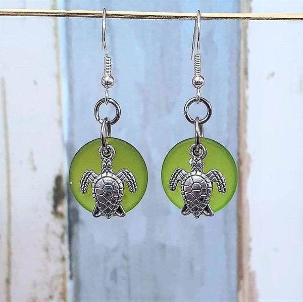 Sea Glass Sea Turtle Earrings