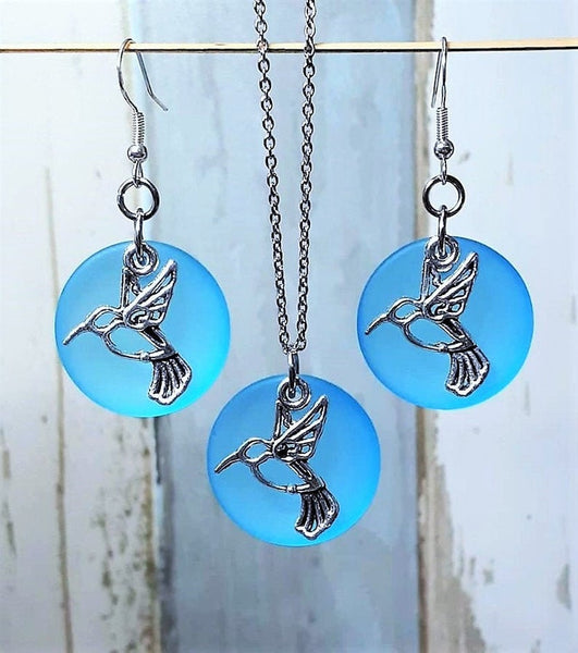 Sea Glass Hummingbird Necklace Earrings Set | Hummingbird Jewelry | Stainless steel | Sterling Silver | Christmas | Sea Glass Jewelry