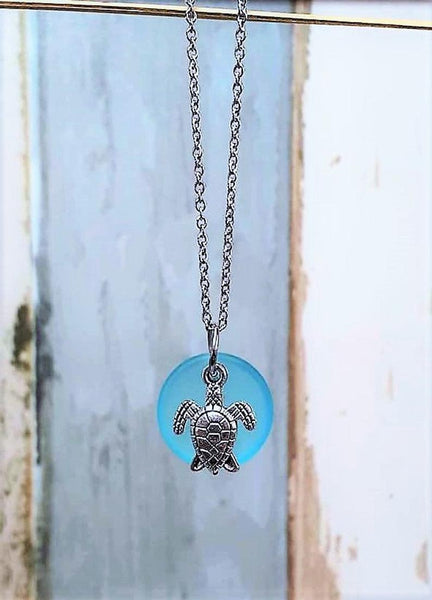 Sea Glass Sea Turtle Necklace | Sea Turtle Jewelry | Stainless Steel | Turtle Necklace | Beach Glass | Christmas | Sea Glass Jewelry