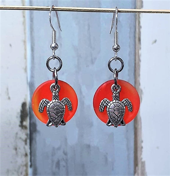 Sea Glass Sea Turtle Earrings | Sea Turtle Jewelry | Sterling Silver | Turtle Earrings | Beach Glass | Christmas | Sea Glass Jewelry