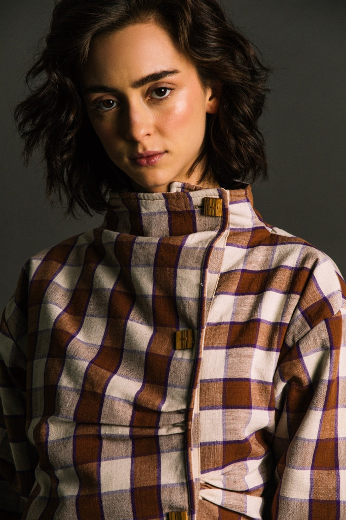 Auera Bucio Plaid Crossed Jacket