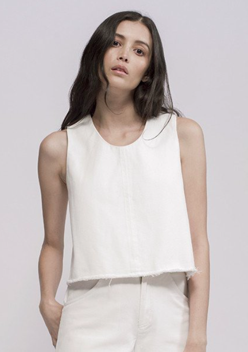 Ziiropa-Aku Cross Top in White