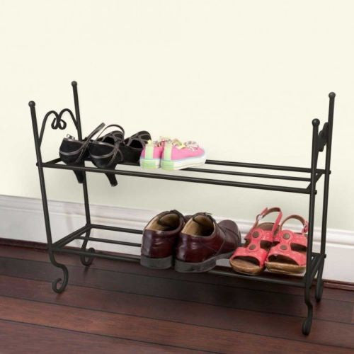 Shabby Chic 2 Tier Metal Shoe Rack - GSR Decor
