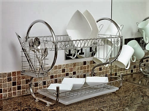 Deluxe 2 Tier Chrome Dish Drainer Rack & Drip Tray - GSR Decor
