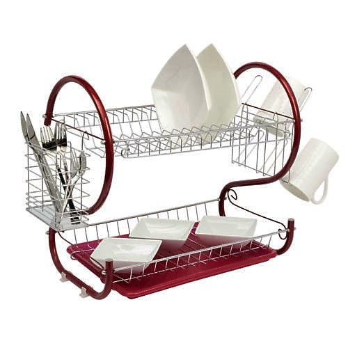 Deluxe 2 Tier Chrome Dish Drainer Rack & Drip Tray