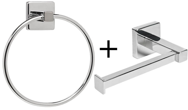 Avon Modern Bathroom Toilet Roll Holder & Towel Ring Set - GSR Decor