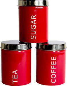 Tea, Coffee, Sugar Set of 3 Kitchen Storage Canisters - GSR Decor
