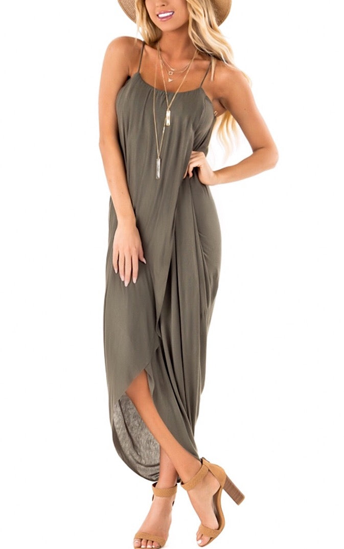 Casual Elegance Olive Wrap Dress, RESTOCKING IN SPRING!