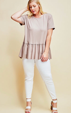 Ruffle Your Feathers Taupe Top CURVY