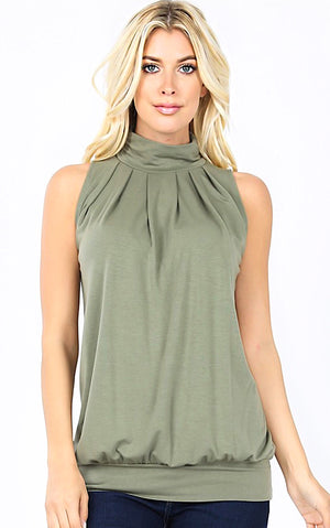 All Put Together Light Olive Sleeveless Top