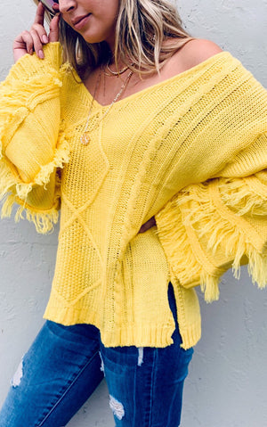 Rain Or Shine Yellow Sweater, SIGN UP FOR RESTOCK!