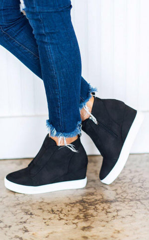 Doll House Wedge Sneakers, Black
