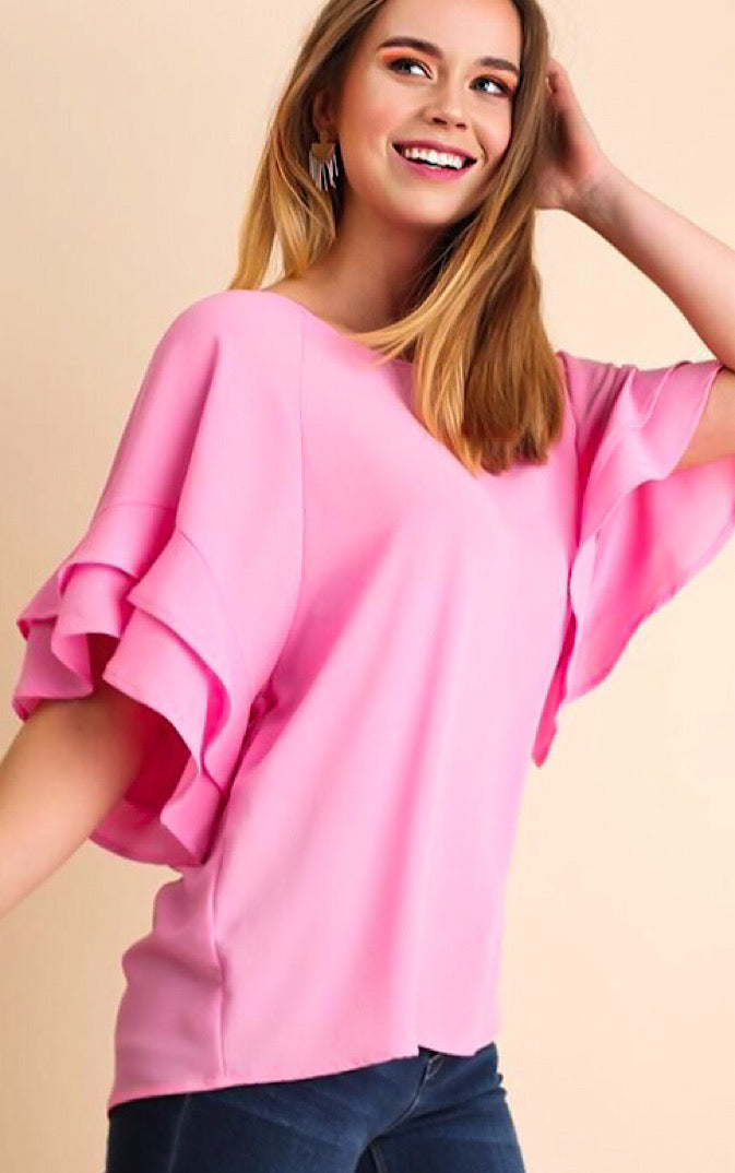 Lauren Pink Ruffle Sleeve Top, **DEAL OF THE DAY**