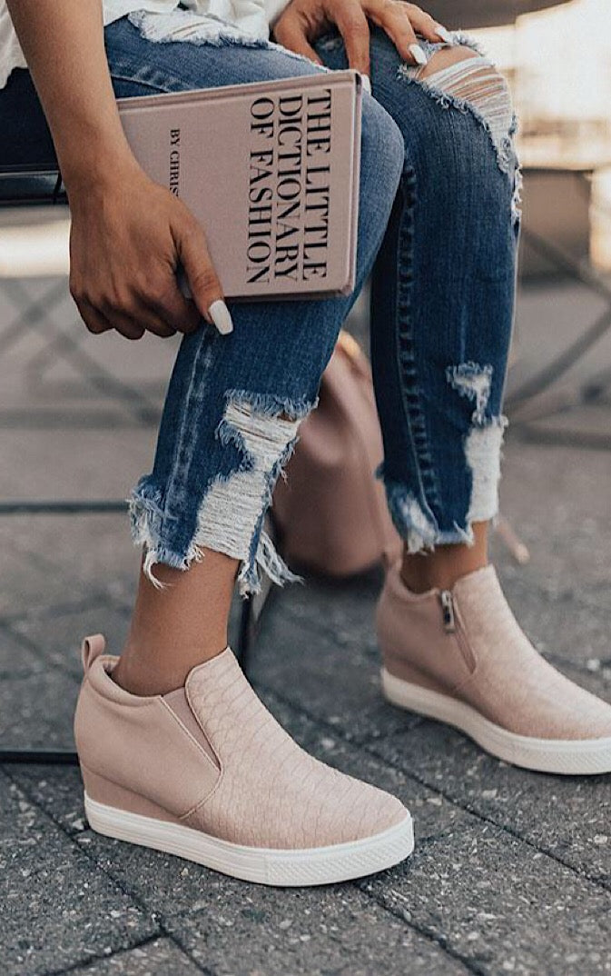 Doll House Blush Reptile Wedge Sneakers