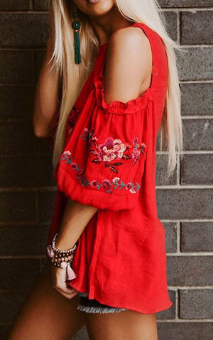 Polynesian Princess Red Embroidered Top