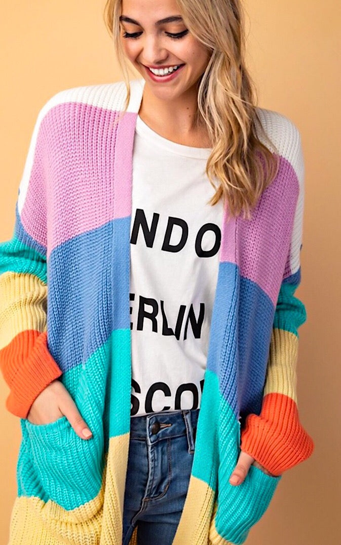Rainbow Sherbert Striped Cardigan, S-3X!