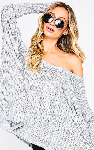 Crushing On You Light Grey Sweater