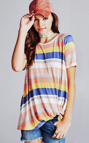 Colorful Sunset Striped Tee, SMALL