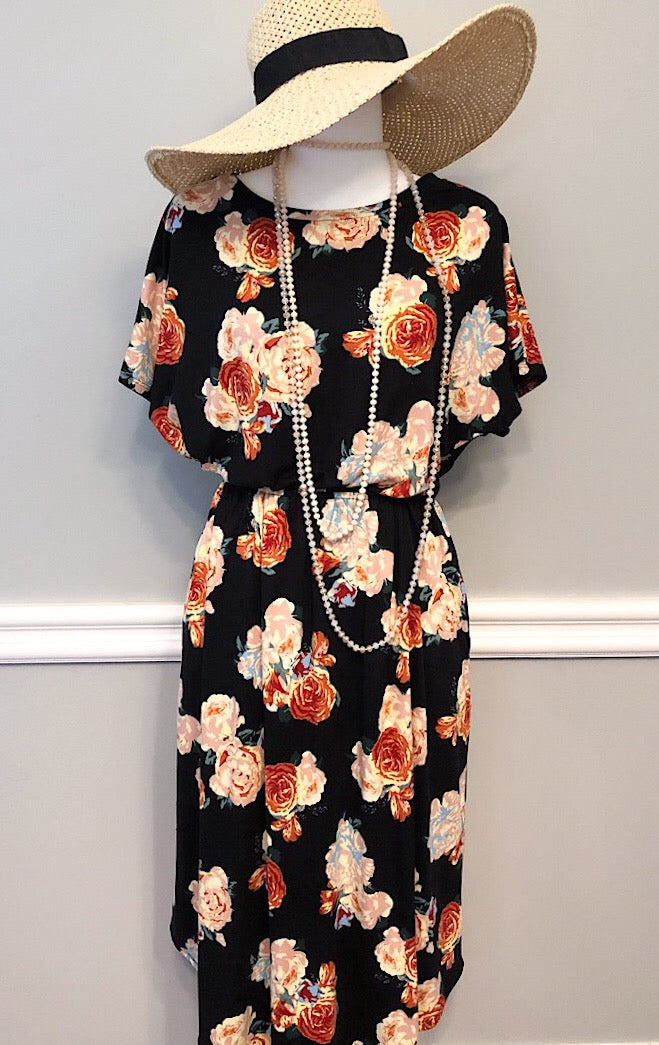 Heather Floral Midi Dress, 1X & 3X