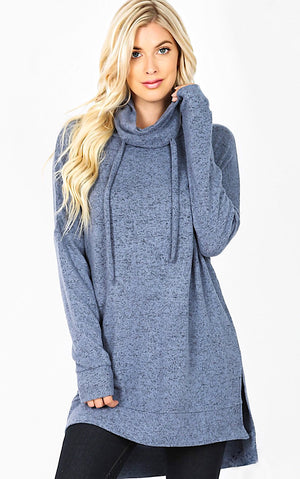 Cozy & Carefree Blue Knit Pullover, L-3X