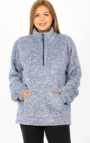 Chilly Days Ahead Blue Sherpa Pullover, 1X-3X