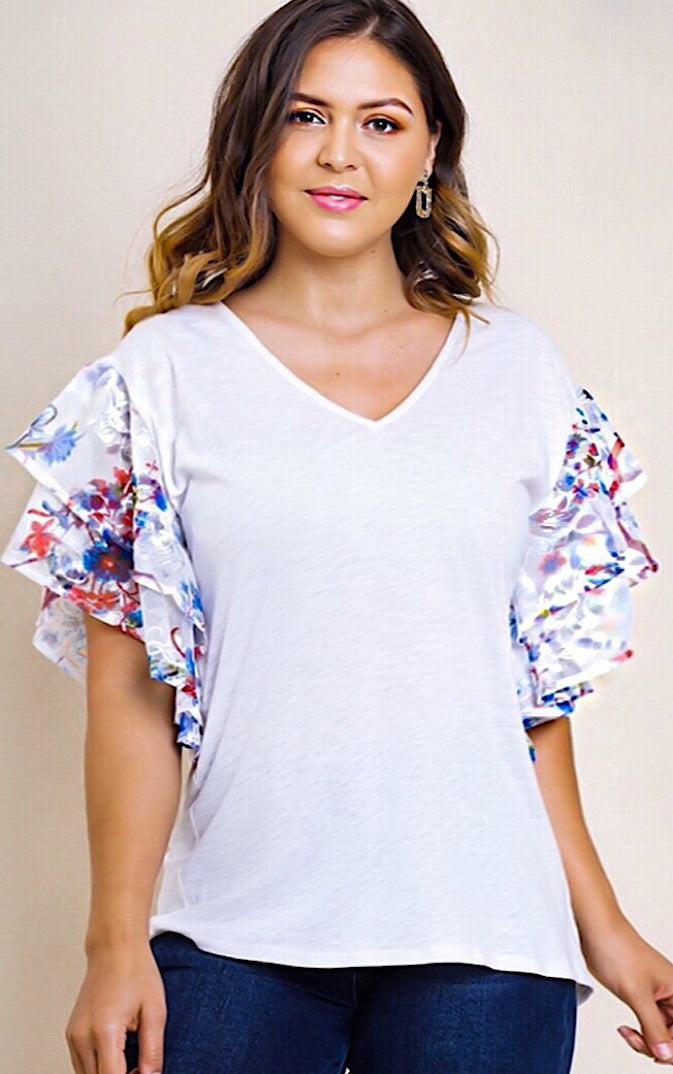 Summertime Lovin' Ruffle Sleeve Top, SMALL-2X
