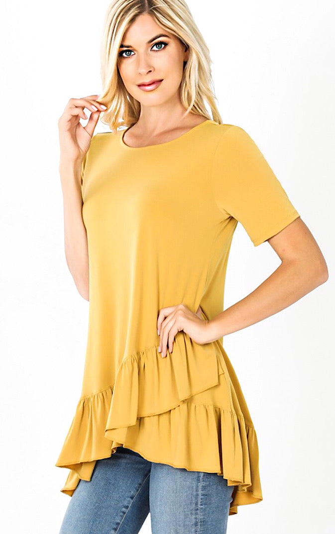 Daydreaming Mustard Ruffle Tunic, S-3X *DEAL OF THE DAY*