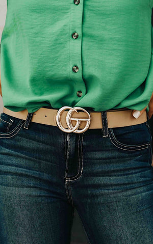 Follow Me Taupe Statement Belt