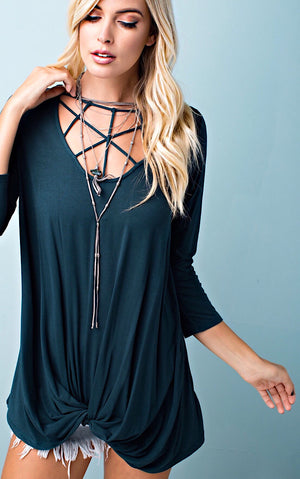Fall Festival Deep Teal Knotted Tee