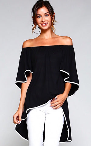 Bon Voyage Black High-Low Tunic