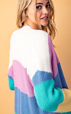 Rainbow Sherbert Striped Cardigan