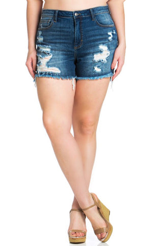 Southern Chic Denim Shorts Dark Wash