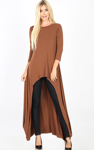 Steal The Show Mocha High Low Tunic, S-3X *DOORBUSTER*