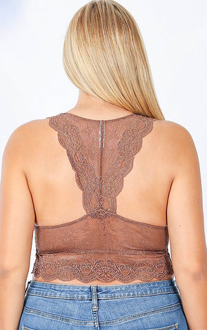 Bare It All Taupe Lace Bralette, S-3X