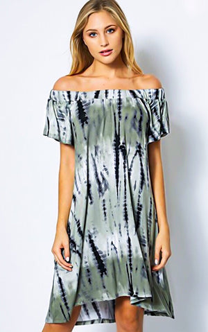 Tori Olive Tie Dye Dress, SMALL & LRG
