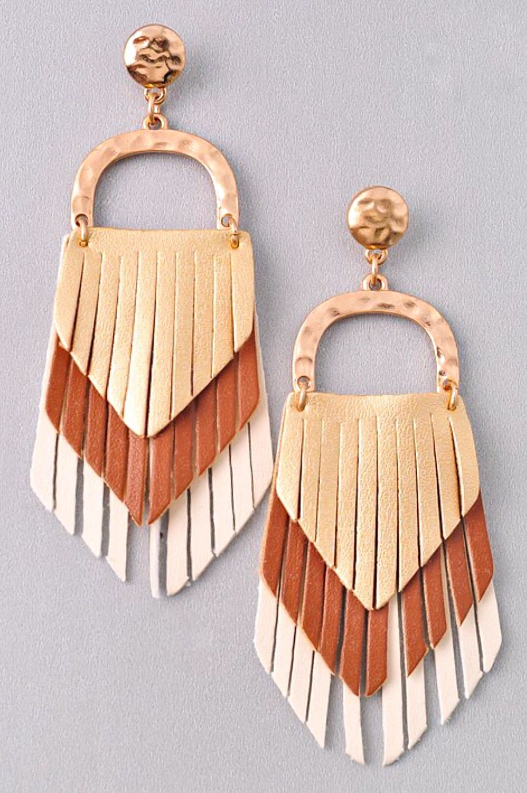 Triple Threat Leather Fringe Earrings