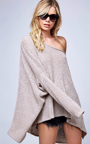 Crushing On You Taupe Sweater