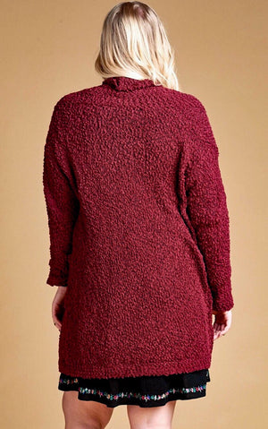 Snuggle Up Burgundy Popcorn Cardigan, CURVY