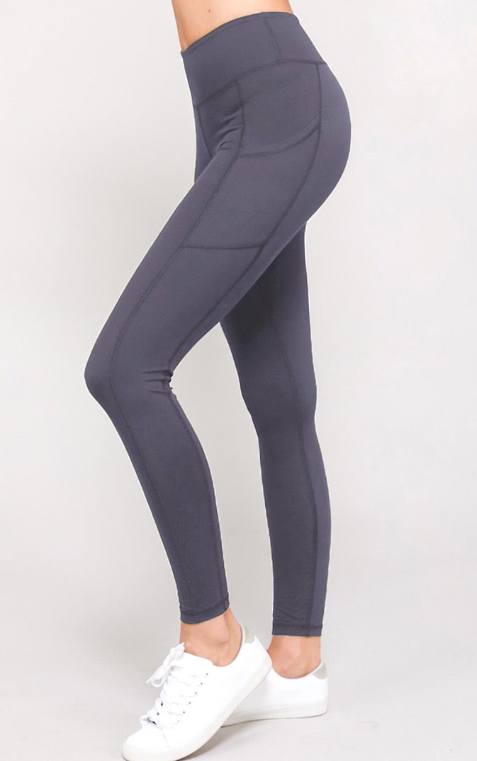 Life's A Breeze Athletic Grey Butter Leggings, S-3X!!
