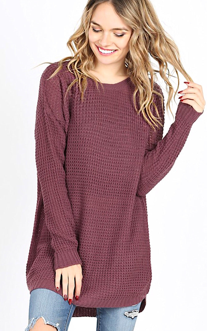 Around Town Eggplant Tunic Sweater, ONE LARGE LEFT!