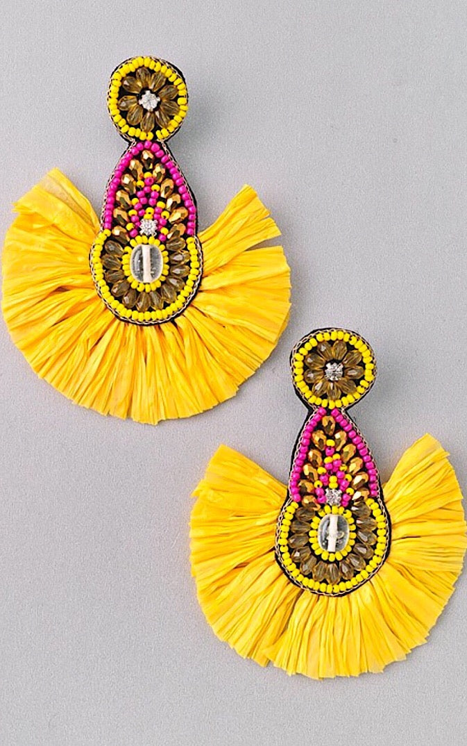 Sun And Sass Yellow Earrings