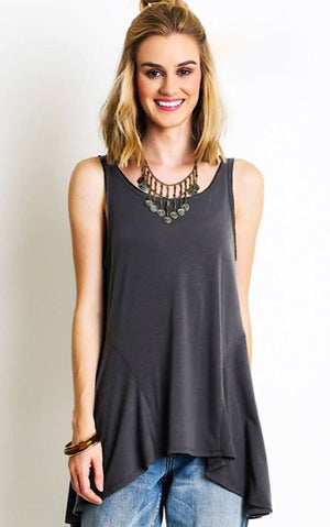 Juliet Grey Ruffle Tank, SMALL
