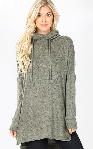 Cozy & Carefree Olive Knit Pullover, L-3X