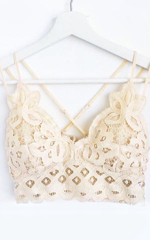 Naughty & Nice Cream Lace Bralette
