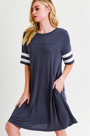 My College Sweetheart Charcoal Dress