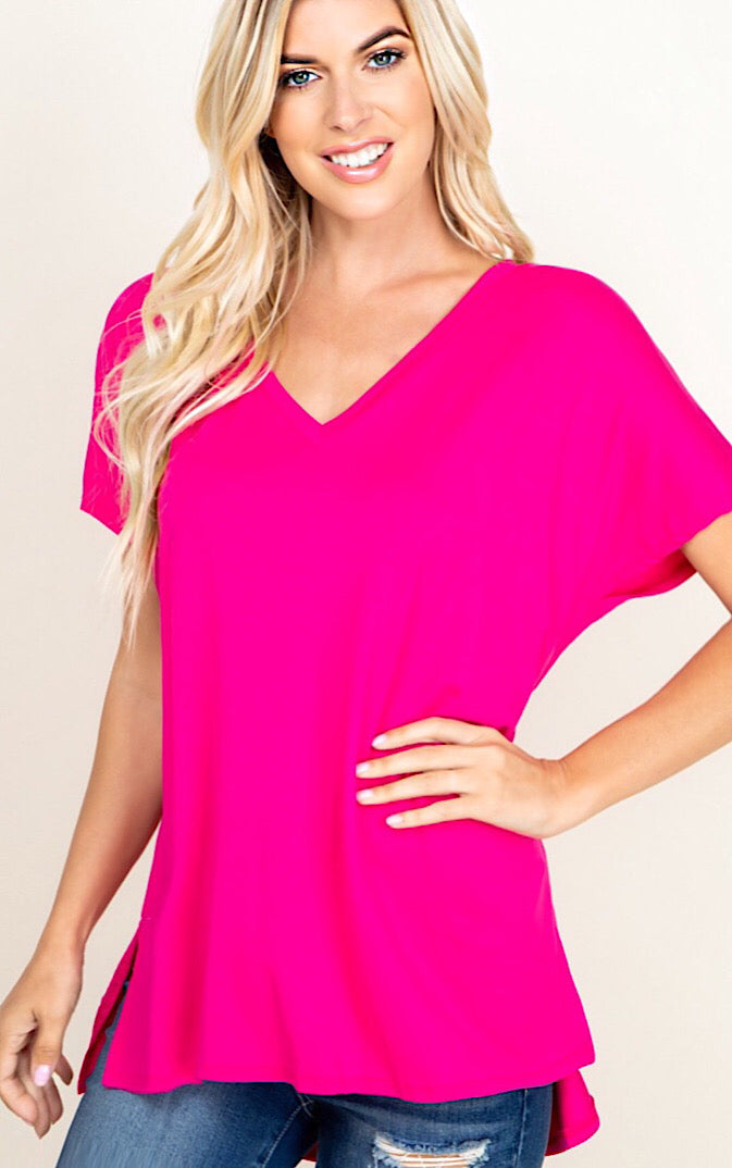 Perfect Fuchsia V-Neck Tee, S-3X!